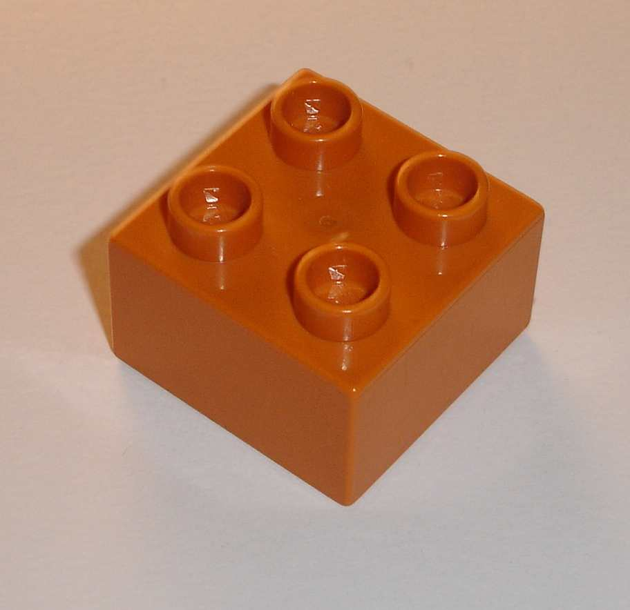 Lego Duplo D10067 (3437) kostka 2x2 earth orange 1 ks POUŽITÉ